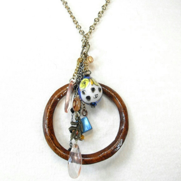 98c28ea9c932b Handmade Owl Wood Circle Charm Necklace Boho NWT